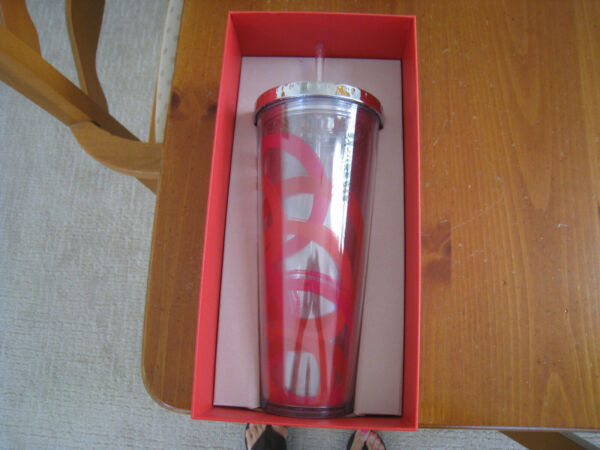 Starbucks Tumbler Christmas Red Swirls amp; Clear Glitter Straw 24oz Cold cup w Lid