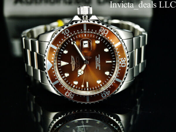 NEW Invicta Men#x27;s 43mm Pro Diver SUBMARINER Silver Tone BROWN DIAL 200m SS Watch