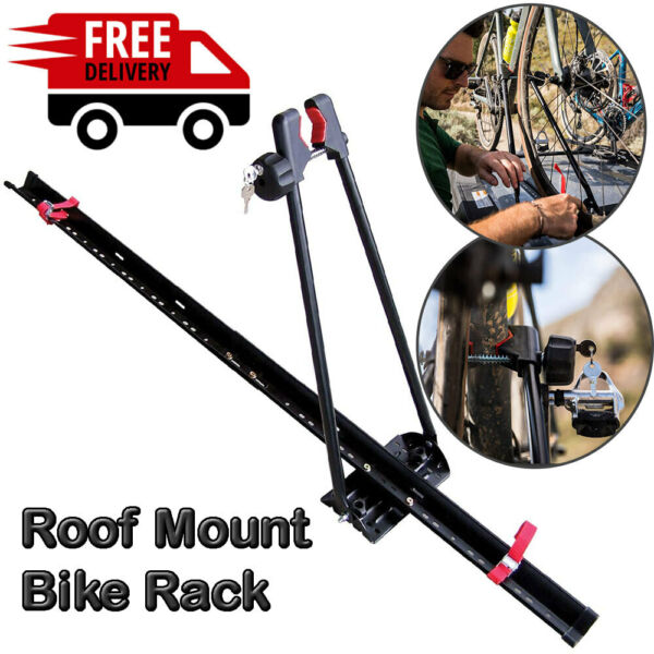 Bike Rack for Car Roof Universal Upright Single Bicycle Carrier Trailer Lockable $56.99