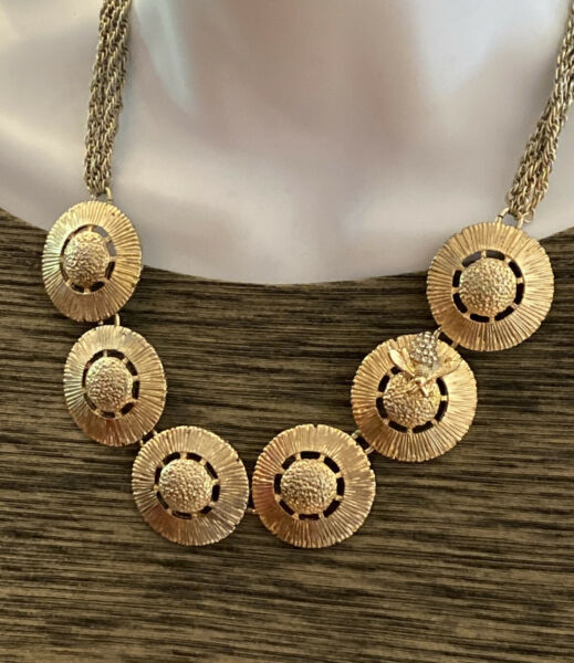 Vintage T for Tara Necklace with Round Disks amp; Rhinestone Honey Bee Silvertone $36.50