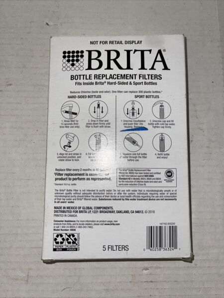 Brita Bottle Replacement Hard Sided Sport 5 Filters •Model BB06•