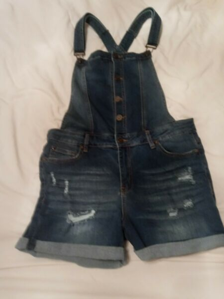 EnJean Salt Tree Women's Button Front Cuffed Washed Out Distressed Overall Short