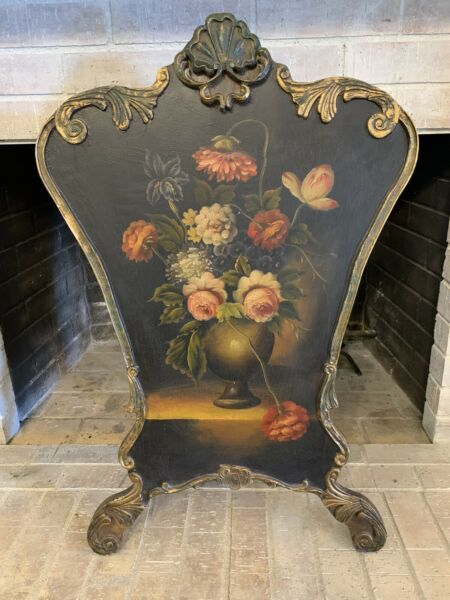 Vintage Victorian Wood Fireplace Screen Stand Summer Cover Hand Painted Floral