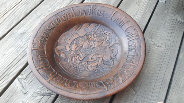 antique treen plate exquisitely carved dated 1705