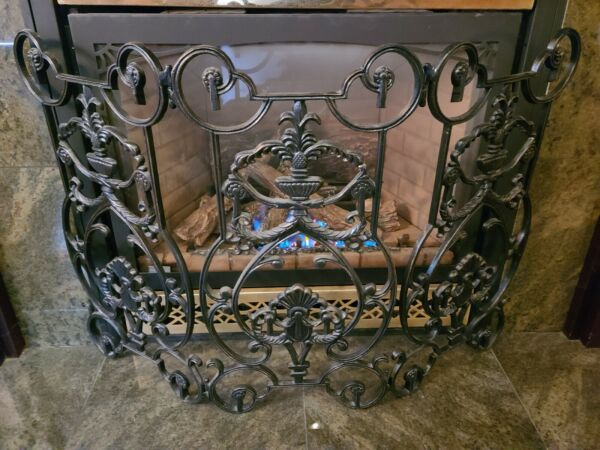 Victorian Style Ornate Curved Wrought Aluminum Fireplace Screen