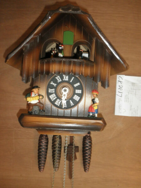 Cuckoo Clock German SEE VIDEO Black Forest working Chalet 1 Day CK2817