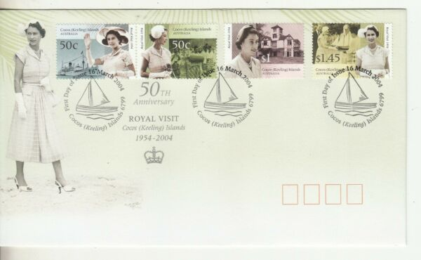 2004 Cocos Islands.Royal Visit set of 4. First Day Cover. Cost $3.75. Cheap AU $1.49