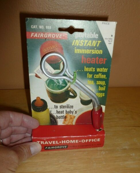 Vintage Fairgrove Portable Instant Immersion Heater 998 in original package NOS $9.99