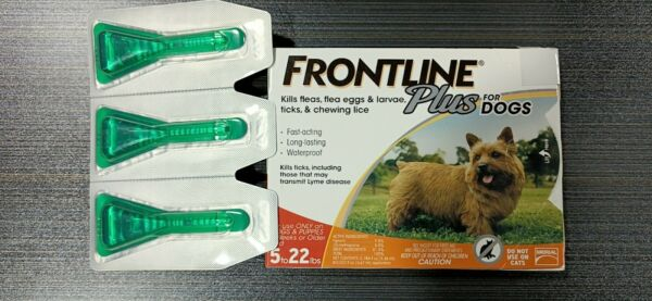 Frontline Plus Dog Flea And Ticks Treatment Small Dogs 5 22 lbs 3 Doses $22.00