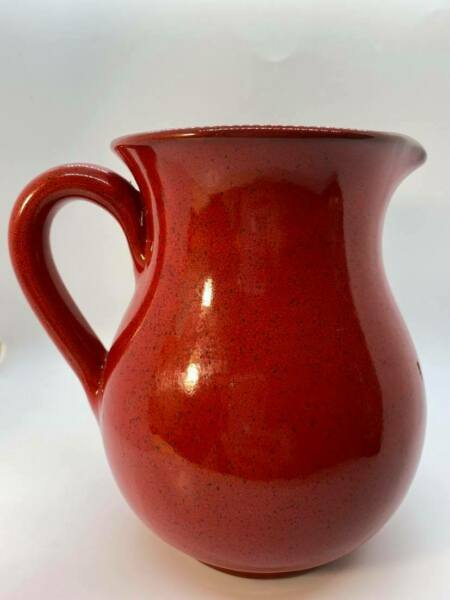Stunning Red Ceramic Pitcher Lightly Speckled Finish – Made in Italy $27.99
