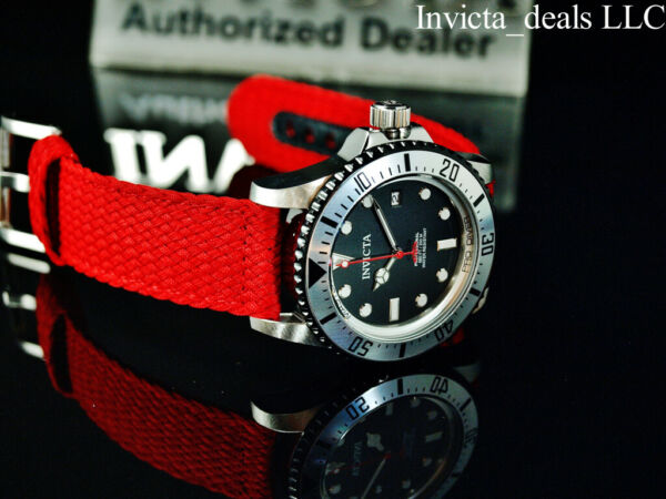Invicta Men#x27;s 44mm PRO DIVER AUTOMATIC NH35A Red Dial Silver Tone Red Band Watch