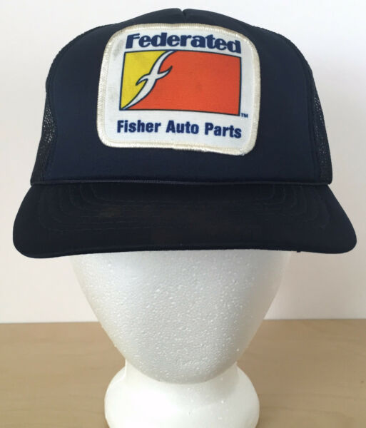 Vintage Federated Fisher Auto Parts Blue Patch Hipster Mesh Trucker Cap Hat $21.99