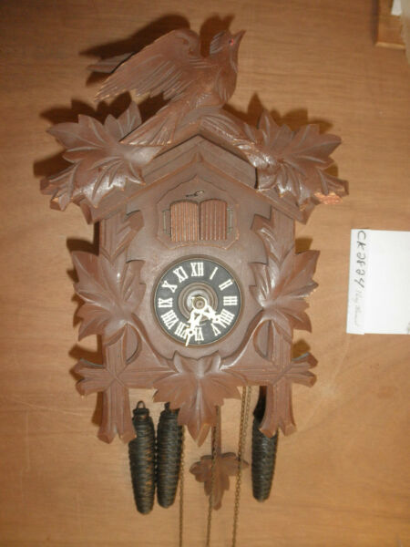 Cuckoo Clock German SEE VIDEO Black Forest working musical 1 Day CK2824
