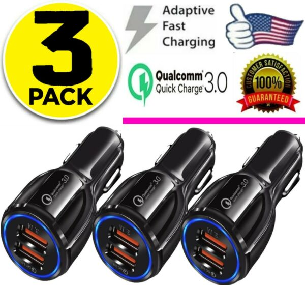 3 Pack 2 USB Port Fast Car Charger QC 3.0 for iPhone Samsung Android Cell Phone $9.22