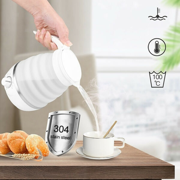 Foldable Electric Kettle 600ML Water Boiler for Coffee Food White US Plug $27.91