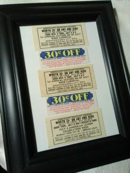 5 Vintage 1960 1970s Carnival Century 21 Shows Tickets Iowa Motorized Midway