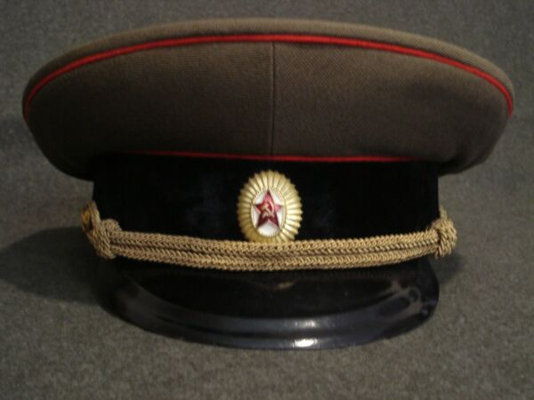 SOVIET RUSSIAN ARMY OFFICER#x27;S SERVICE CAP OD BLACK BAND SIZE 58 VG