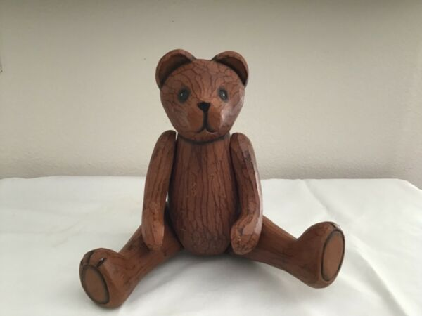 Vintage Wood Jointed Teddy Bear Hand Carved Movable parts