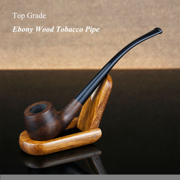 Classic Ebony Wood Pipe 3mm Filter Long Smoking Pipe Wooden Handmade Tobacco $17.78