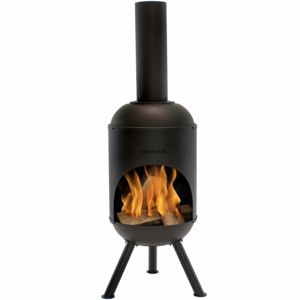 Sunnydaze 60quot; Chiminea Outdoor Wood Burning Fire Pit Black Steel with Fire Poker $299.00