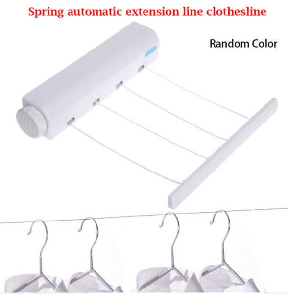 4 5 Lines Clothesline Drying Telescopic Rack Retractable Wall Mounted Hanger US $22.49