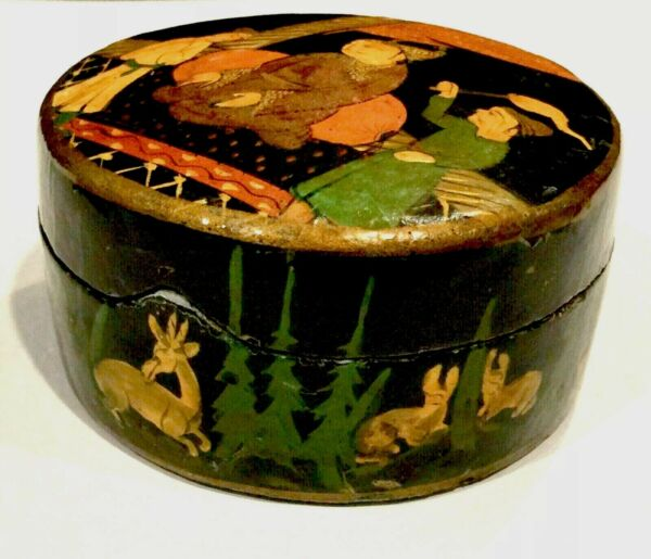 Handcrafted Handpainted Lacquered Antique Box signed Kash India