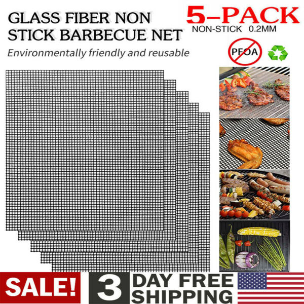 Grill Mat Net BBQ Mesh Non Stick Washable Reusable Bake Meat Pad Grilling Sheet