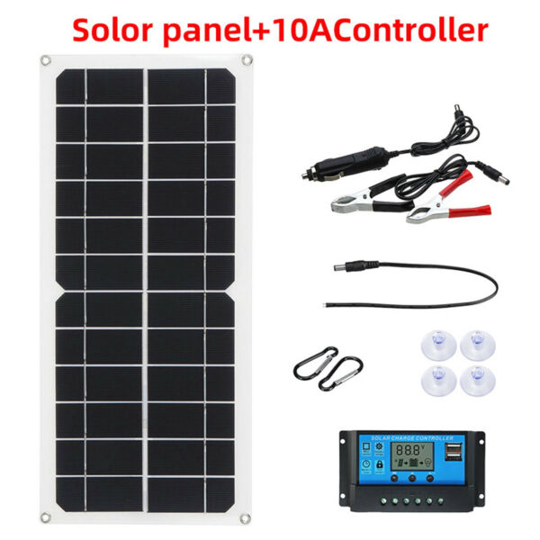 Solar Panel Kit Charge Controller Dual USB 10W 12V for Home Appliance Car $26.81