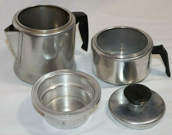 Vintage Mirro M 0824 Aluminum 2 4 Cup Drip Coffee Pot Stovetop Camping USA