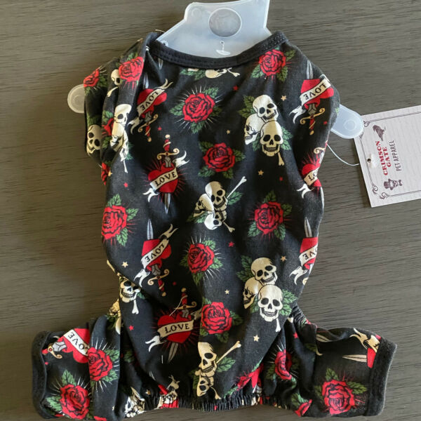 PET APPAREL DAY of the DEAD Halloween quot;SKULL amp; ROSESquot; Pajamas PUPPY DOG SMALL $16.50