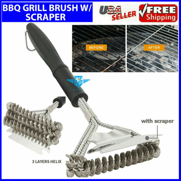 BBQ Brush Scraper 18quot; Stainless Steel Oven Grill Tool Cleaning Three Head New