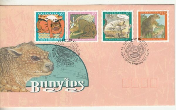 1994 Bunyips set of 4 stamps on First Day Cover. Cost $3.45. Going Cheap AU $2.50