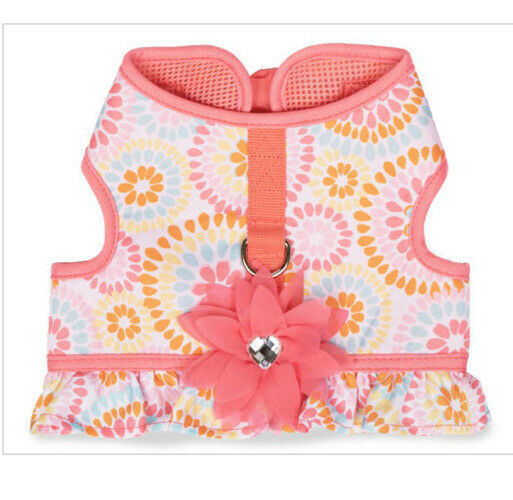Simply Dog PINK FLORAL SUNBURST WITH FLOWER AND RUFFLE HARNESS Puppy Dog XSMALL $22.50