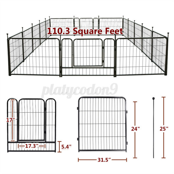 24#x27;#x27; 16 Panels Detachable Tall Dog Playpen Large Crate Fence Pet Play Pen Cage