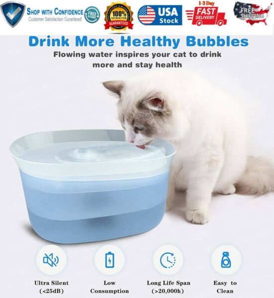 Pet Water Fountain Electric Automatic Dispenser For Cat Dog Bowl Smart LED Light $21.89