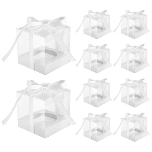 10pcs Pack Clear Cupcake Boxes Cake Boxes for Wedding Banquet