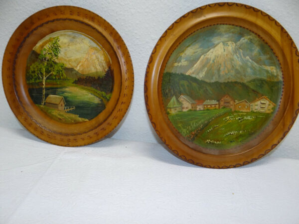 PAIR Vintage German Black Forest Hand Painted Wall Art Plates
