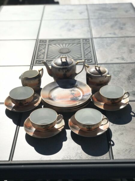 """Vtg Noritake 4 Person Tea Set """"Scenic"""" Tree In Meadow Pattern House By The Lake"""