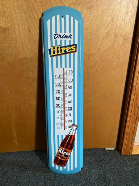 """Vintage Hires Root Beer metal thermometer Stout Sign Co limited 850 30"""" NICE"""