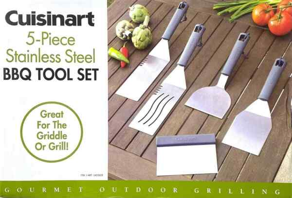 Cuisinart CGS 509 Stainless Steel 5 Piece Griddle Spatula BBQ Tool Set #375