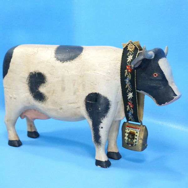 18quot; Antique Swiss Black Forest Carved Dairy COW amp; Bell Brienz Innsbruck c1920s