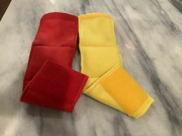 2 MALE DOG BELLY BANDS. YELLOW amp; RED. SIZE SMALL FITS WAIST 10 12 $11.40