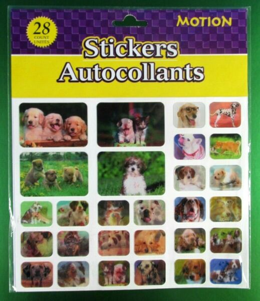 Vintage Lenticular Motion Dog amp; Puppies Stickers Pack $4.00