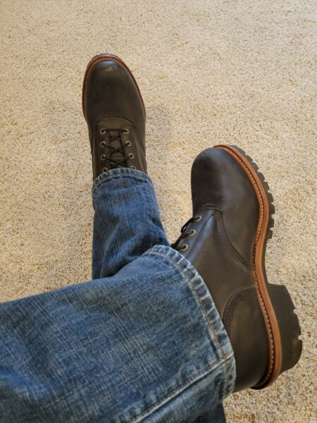 HOT Worn Black Leather Men#x27;s Chippewa Motorcycle Super Logger Lace Up Boots 11 E
