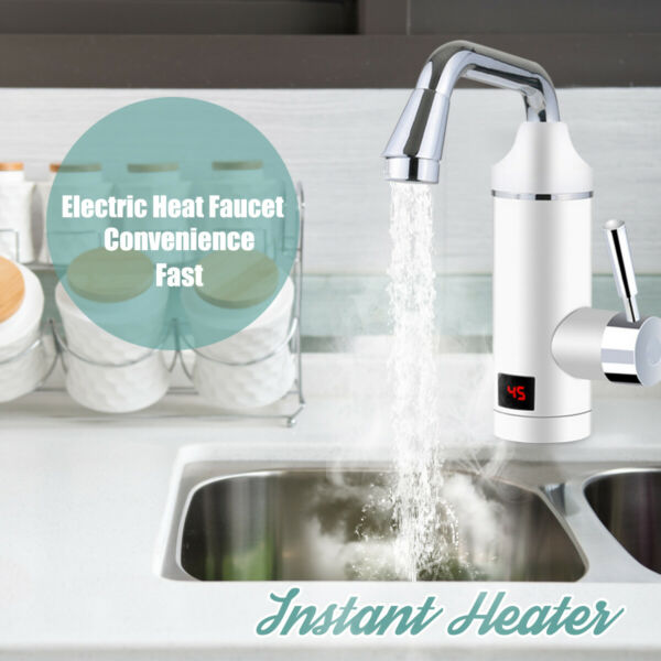 220V 3000W Electric Tankless Instant Heater Water Faucet Bathroom Kitchen $58.77