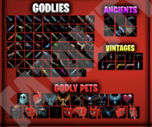 MM2 SMALL SET 83 GODLYS SET PET 18 PETS ALL GODLY ANCIENT VINTAGE WEAPONS $16.99