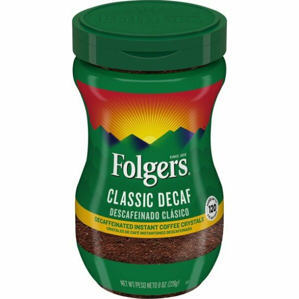 Folgers Classic Decaf Instant Coffee Crystals 8 Ounce Easy Open Flip Top Jar $9.70