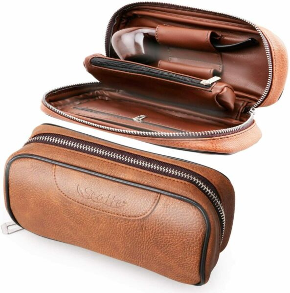 Scotte PU Leather Tobacco Smoking Wood Pipe Pouch Case Bag For 2 Tobacco Pipe $25.99