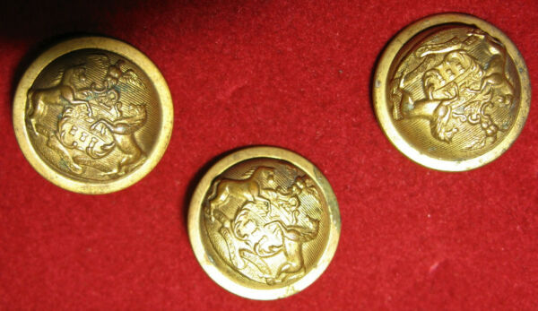 Lot of 3 Pennsylvania State Seal Antique Buttons for Uniform