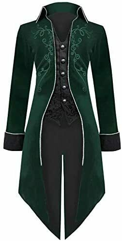 Medieval Steampunk Tailcoat Halloween Costumes for Men Renaissance Pirate $21.84